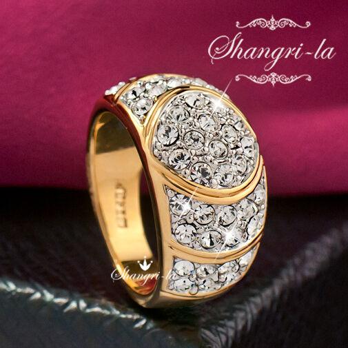 0530 18K YELLOW GOLD GP Womens Full CRYSTAL COCKTAIL RING SWAROVSKI DIAMOND