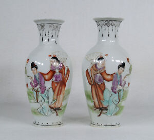 Antique-Chinese-Public-Period-Hand-Painted-Porcelain-Pair-of-Vases-Signed