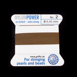 Griffin Nylon Size #2 Color Black 2 Meter Card with Needle