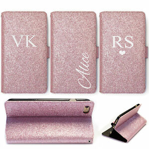 INITIAL-PHONE-CASE-PERSONALISED-ROSE-PINK-GLITTER-LEATHER-WALLET-FLIP-COVER