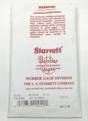 "New Starrett Webber SS .090 A1 Square Steel Gauge Block .090/"" Grade 0 Gage"