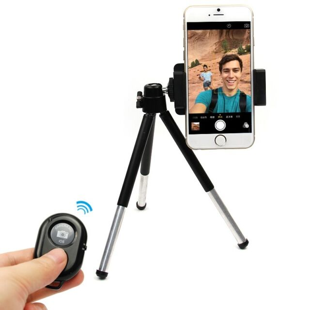 Bluetooth Wireless Shutter + Telescopic Selfie Stick Tripod Holder For Cellphone
