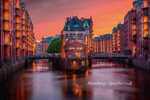 Hamburg-Speicherstadt-in-the-Evening-Tin-Sign-Shield-Arched-20-x-30-CM