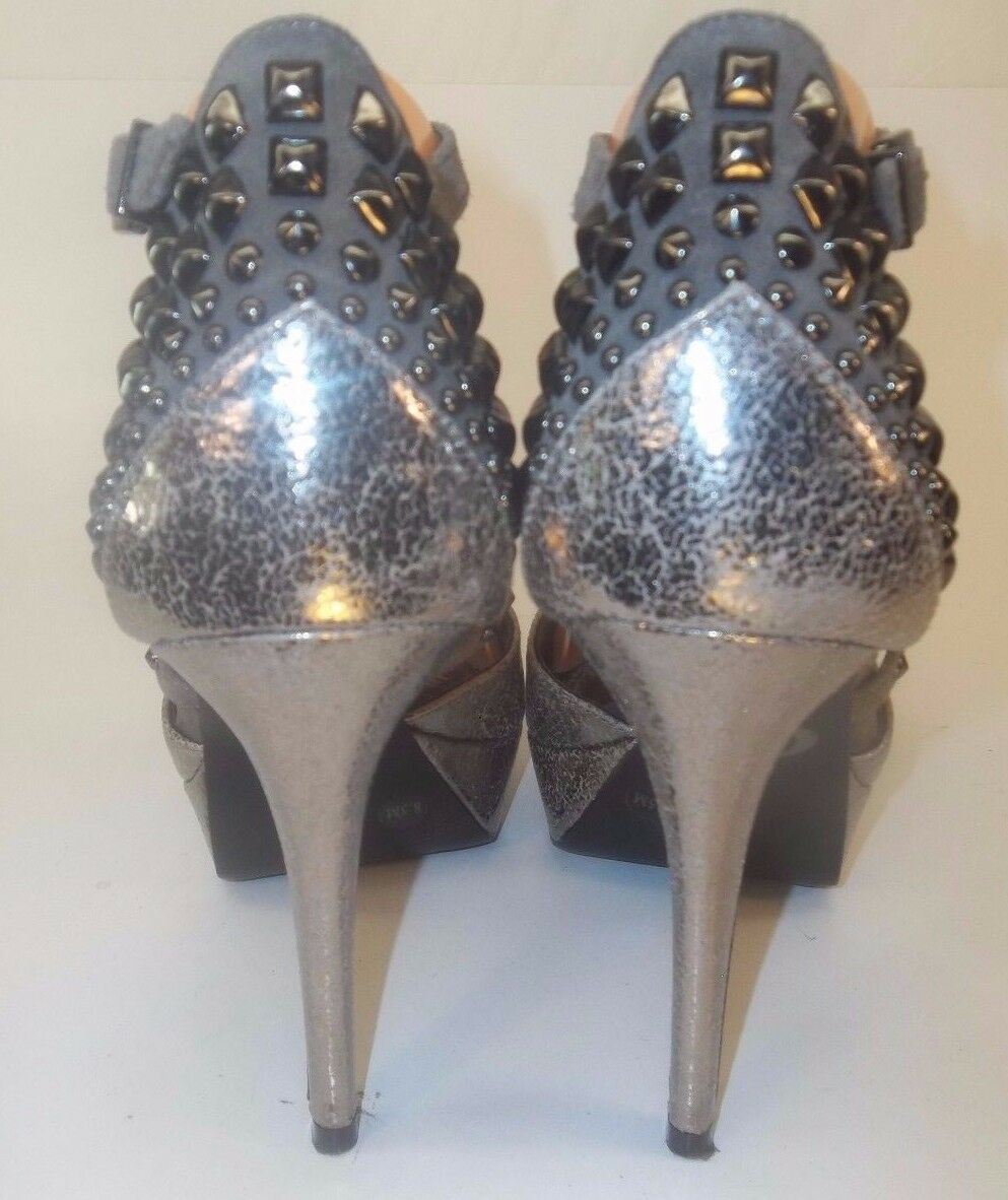 Gianni Bini Wos Heels Metallic Platform US 8.5M Gray Metallic Heels Crackle Studded Ankle Strap bb3b6b