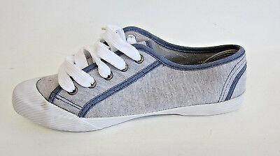 Señoras F8456 Azul/Gris Con Cordones Zapatos De Lona UK7 (R15B)