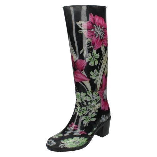 Design' Boots Floral Spot nero On With Multi 'wellington Heeled Nero Ladies UqId0CwBw