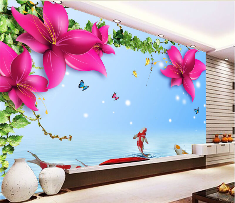 3D Flowers And Fishes 1759 Paper Wall Print Wall Decal Wall Deco Indoor Murals
