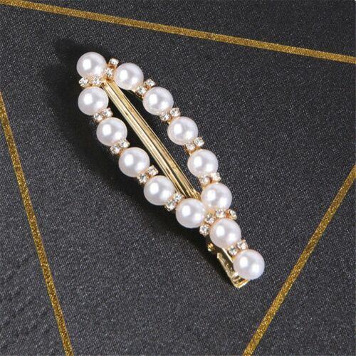 Fashion Women Pearl Hair Clip Snap Barrette Stick Hairpin Hair Accessories Gift