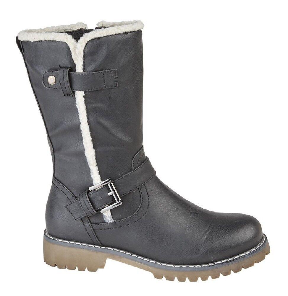 Ladies Fashion Boots women Mid Calf Boot Black
