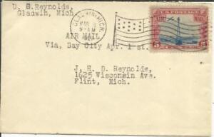 US BEACON ISSUE-Sc#C11-FLAG CANCEL-GLADWIN MICH MAR/8/1929 to FLINT