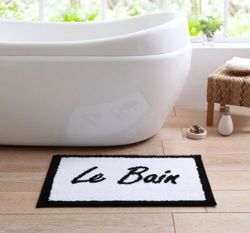 "Relax, Splash Low Pile 20""x30"" Text Printed Bath Rug with Non-Slip Backing"