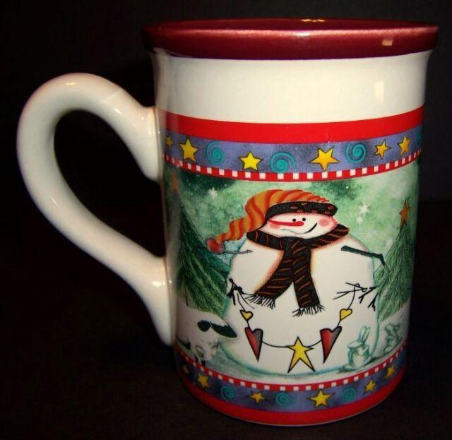 Christmas Snowman Coffee Mug 16 oz Royal Norfolk Tree Sheep Tea Cup Holiday