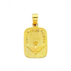 14K Solid Yellow Gold Small Holy Spirit Charm Pendant Necklace Charm