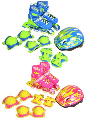 Inline Skates Set Children's Skating Pads Adjustable Roller Helmet S-M NA1015
