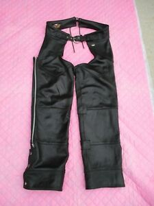 Vintage Genuine HARLEY Cuir Chaps homme L Large Tall long, US made