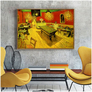 Vincent Van Gogh Night Coffee Shop Canvas Fine Wall Art Poster Print Home Decor