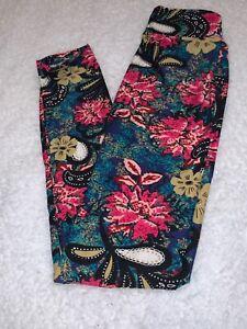 LuLaRoe Kids Leggings L//XL Large XLarge Teal Pink Orange And White Floral