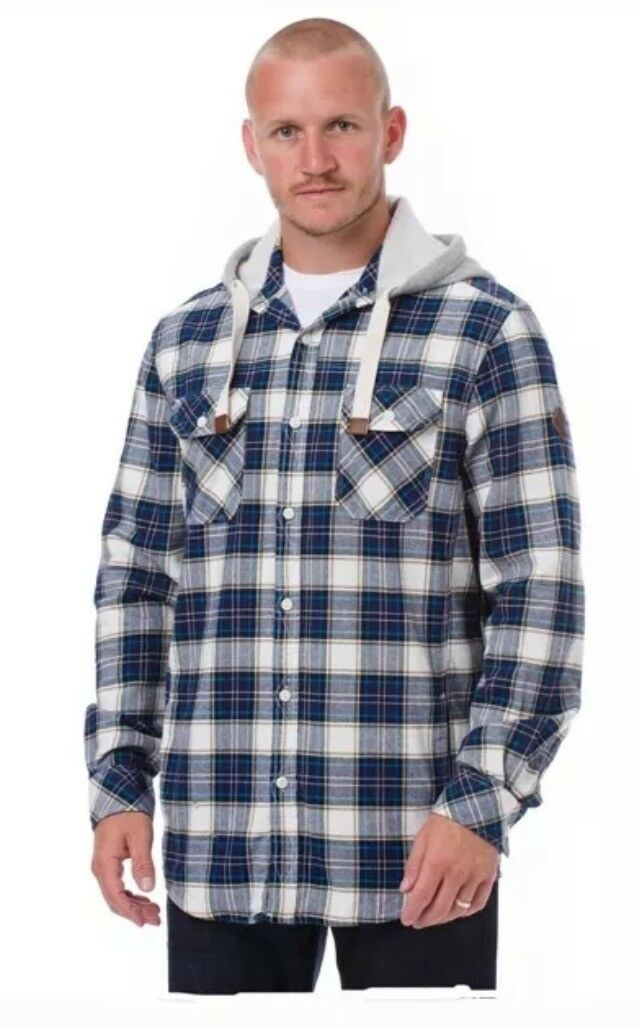 ANIMAL SKOTTY  MENS HOODED LS WOVEN SHIRT