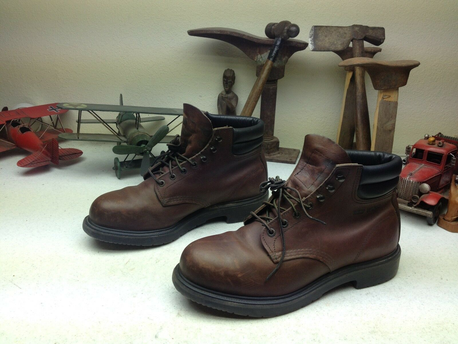 marrón DISTRESSED OLD OIL RIG STEEL TOE TOOL PUSHER rojo WING USA BOSS botas 10EEE