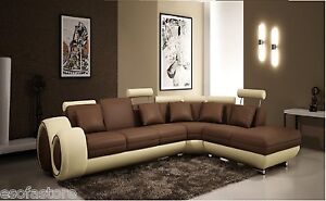 Divani Casa 4086 - Modern Leather Sectional Sofa In Brown/Beige W/ Free Shipping