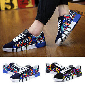 Mens Print Sneakers Breathable Canvas Running Sport Athletic Casual Shoes Hot