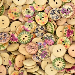 50PCS Mixed Round Wooden Flowers Design Button Craft Decor Sewing ...