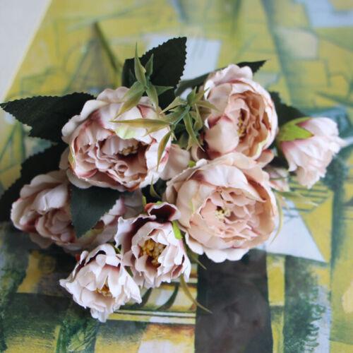 8 Heads Artificial Fake Silk Flowers Rose Peony Wedding Home Garden Party Decor