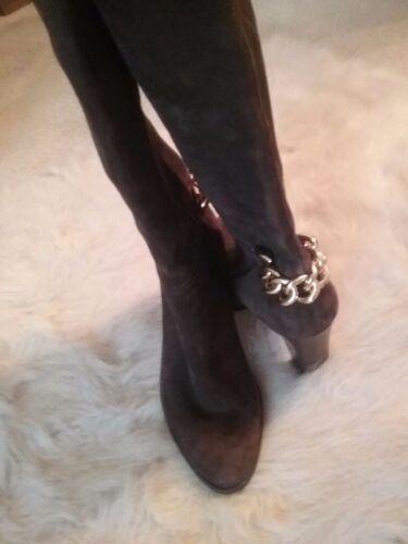 Preowned talla marrón hasta cuero color la rodilla 6 de gamuza Botas de Tahari wUv7qXX