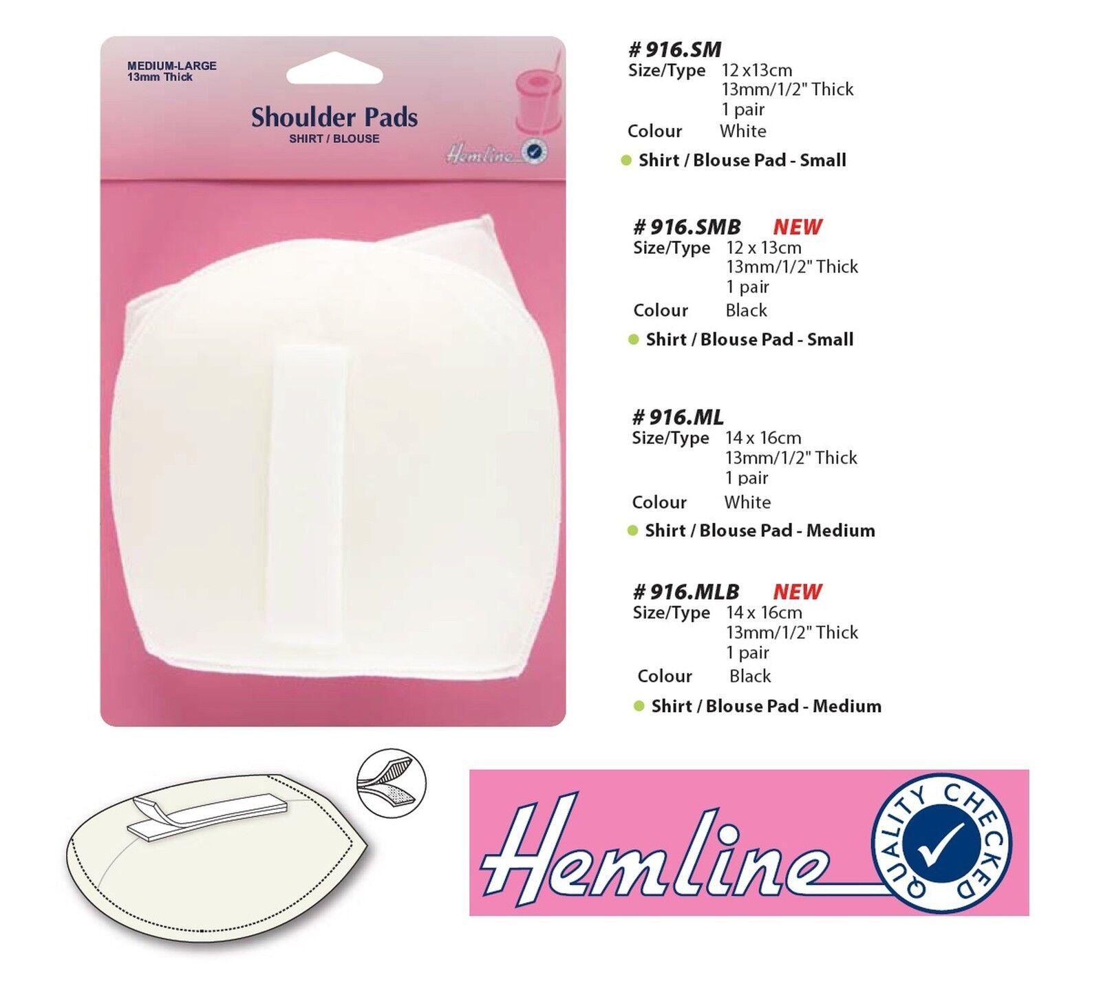 Small Hemline Shoulder Pads Standard Set-In White