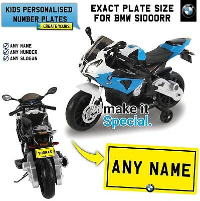 Ride On Bmw S1000rr Personalised Number Plate For Kids Electric Bike Exact Size Ebay