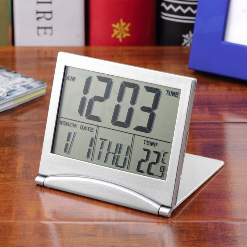 Digital LCD Alarm Clock Folding Station Desktop Temperature Display Travel Carry
