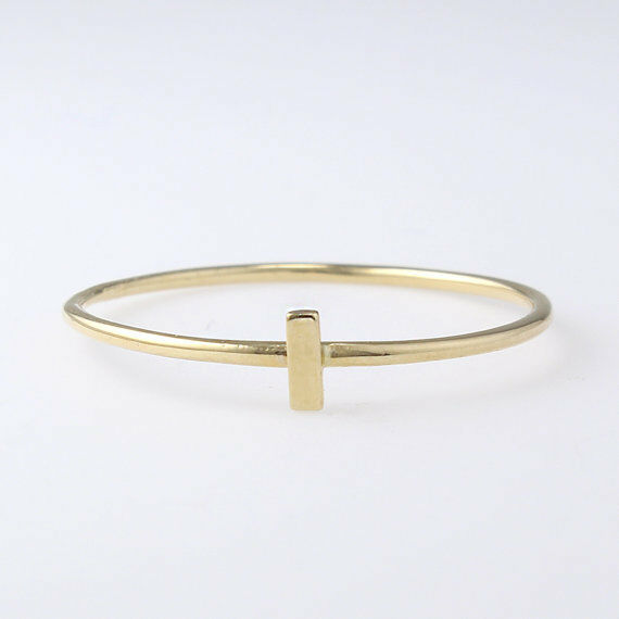 10K solid gold ringthin bar Ringdainty RingGeometric Ringsimple ringSJR0687