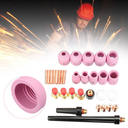 31PCS TIG Welding Torch Stubby Gas Lens Pyrex Cup Kit for WP-9//20//25 Series US