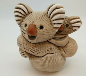 Vintage Artesania Rinconada Koala Mother and Baby Uruguay Art Pottery Figurine