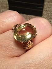 VINTAGE 9.ct  solid gold ornate GENUINE CITRINE  ring Full UK HM  3.4g L 1/2