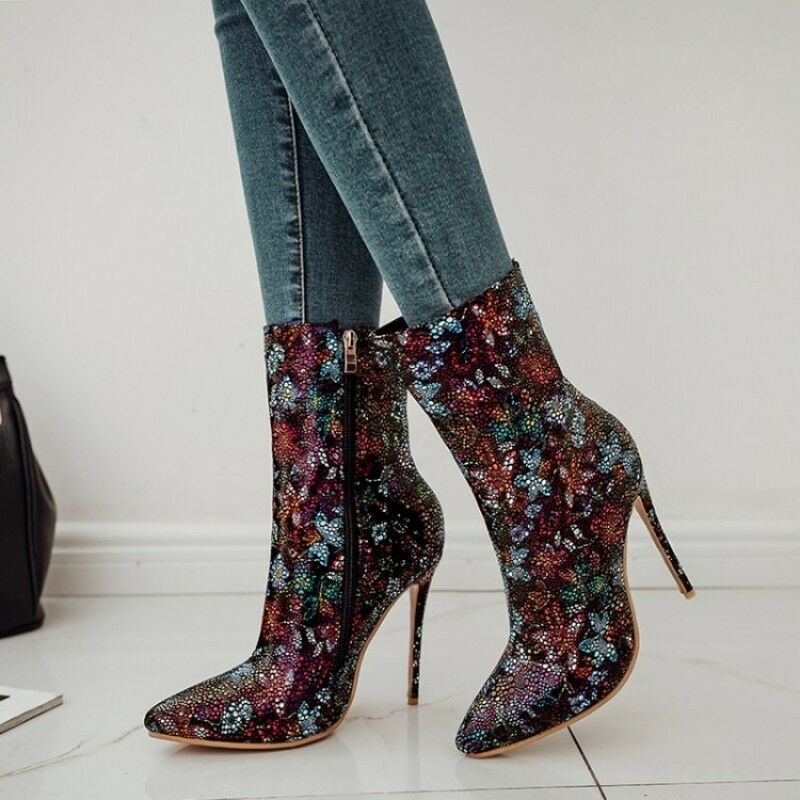 Ladies shoes Mid-Calf Boots Stiletto Rhinestone Multi-color Sexy Clubwear Floral