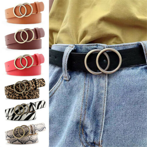 Women/'s Belt Lady Girl Leather Double Ring Metal Buckle Waistband Vintage Belts