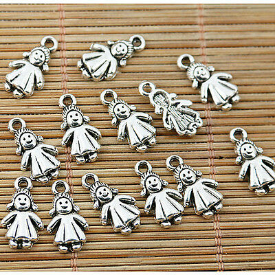 100pcs tibetan silver tone lovely little girl kid charms EF1796