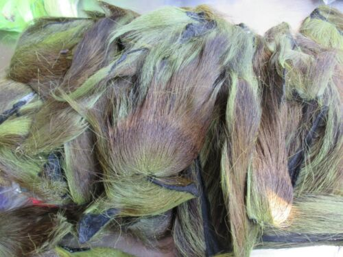 MED-SM OLIVE NORTHERN BUCKTAIL TAILS PIECES Fly Tying Deer LONG Tail Hair 10