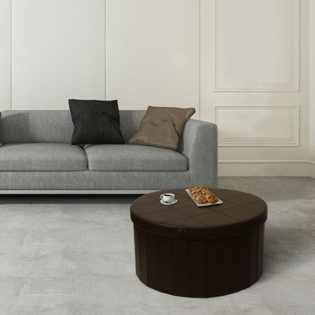 Final Folding Leather Storage Coffee Table Pouf Stool Ottoman Living Room