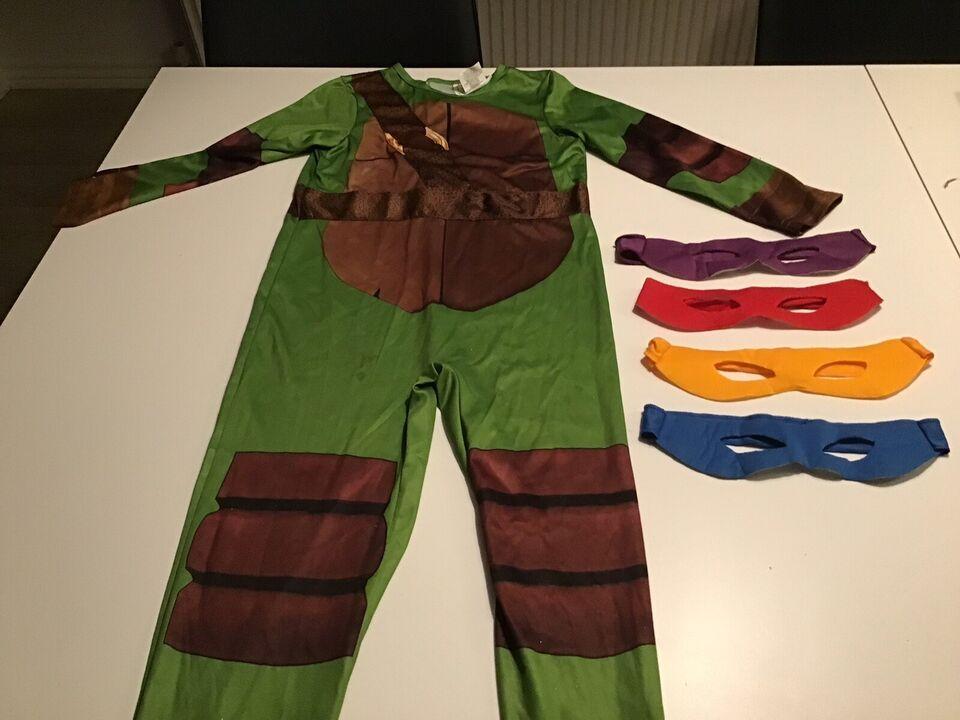 Udklædningstøj, Ninja turtle med fire masker str 128