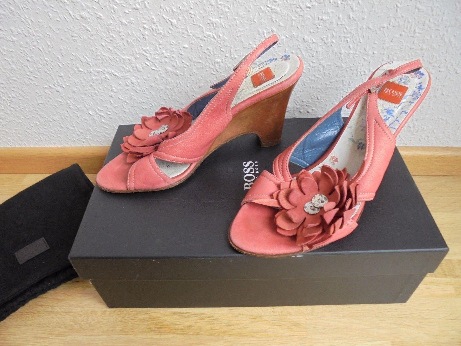 Hugo  Boss Leder Sandaletten NP:  Hugo TOP Wedges Schuhe Pumps Heels Gr. 36 dcb73e