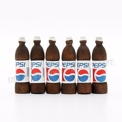 6X Bottles of PEPSI Cola Soft Drink Miniature Toy 1:12 Dollhouse Lovely Gift New