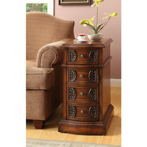 Table Oak Finish Side Table with Drawers Coffee Sofa End