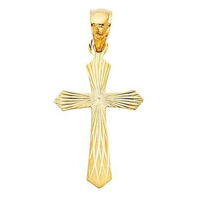 American Set Co 14k Yellow Gold Religious Praying Hand with Cross Pendant Charm