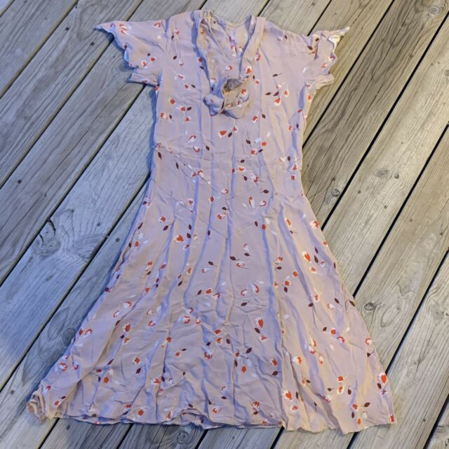 Vintage 1930's-1940's Short Sleeve Floral Womans Day Dress