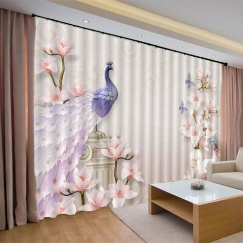 Purple Peacock Feathers 3D Curtain Blockout Photo Printing Curtains Drape Fabric