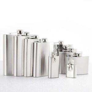 Stainless Steel Hip Flask Liquor Whiskey Alcohol Pocket Wine Bottle 7 8 10 Oz