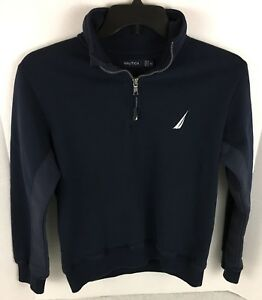 Nautica-Quarter-Zip-Pullover-Sweater-XS-Navy-Blue-Spell-Out