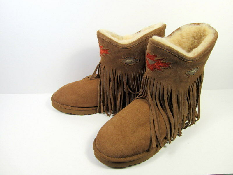 Koolaburra Haley Suede Fringed Ankle Boot Women's sz 11 Never Worn